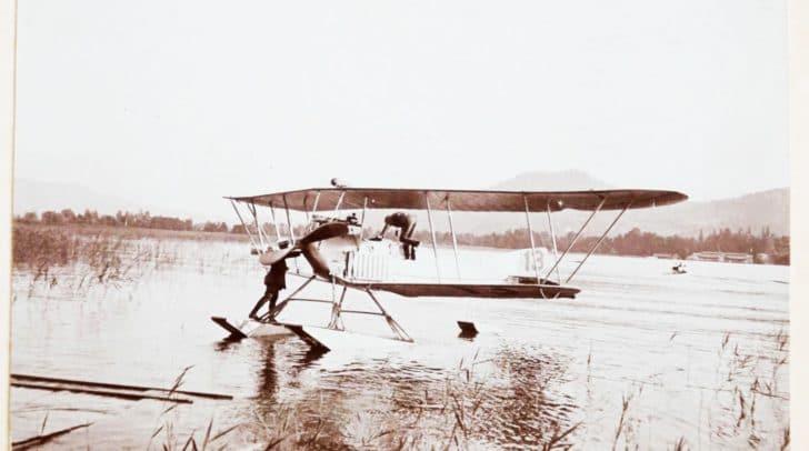 1913 Wasserflugzeug am Wörthersee: eines der ersten Wasserflugzeuge Österreichs wurde am Wörthersee 1913 ausgiebig getestet