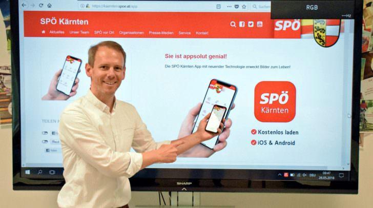 SPÖ-Landesgeschäftsführer Andreas Sucher stellt das Konzept der App vor.