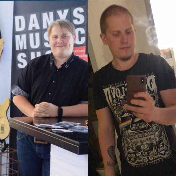Diese Vorher-Nachher Ansicht von Daniel Pscharzer zeigt eindrucksvoll die körperliche Veränderung