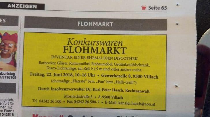 Anzeige über den Flohmarkt – gefunden heute in der Kronen Zeitung