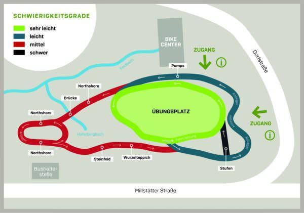 Vier unterschiedliche Schwierigkeitsgrade sind in den Parcour eingebaut.