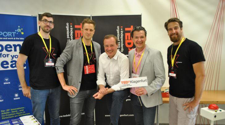Alexander Mann, Marko Haschej (Kurator), LR Zafoschnig, Peter Weidinger und Stefan Weder.