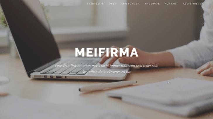 Die MeiFirma-OnePage ist klar strukturiert und präsentiert ihre Inhalte individuell und anschaulich.