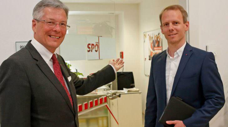 SPÖ Landeshauptmann Peter Kaiser und SPÖ Kärnten Landesgeschäftsführer Andreas Sucher.