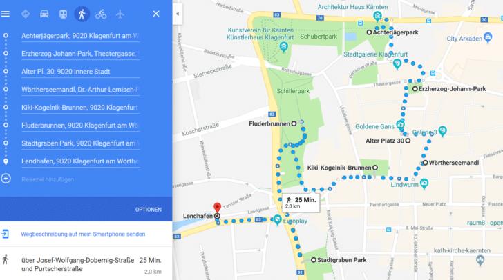 Die Strecke von Brunnen zu Brunnen ist ca. 2 km lang.