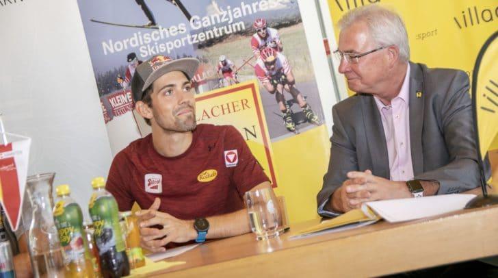 Lokalmatador Philipp Orter und Sportstadtrat Harald Sobe auf der Pressekonferenz