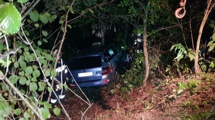 Noch bevor der Taxifahrer seinem Fahrgast aus dem Wagen helfen konnte, rollte das Taxi rückwärts die Hauszufahrt hinab und blieb erst auf einem steilen Waldgrundstück stehen.