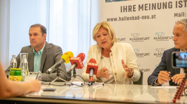 Maria-Luise Mathiaschitz (SPÖ), Vizebürgermeister Jürgen Pfeiler (SPÖ) und die Stadträte Markus Geiger (ÖVP) und Frank Frey (Grüne) luden zur Pressekonferenz.
