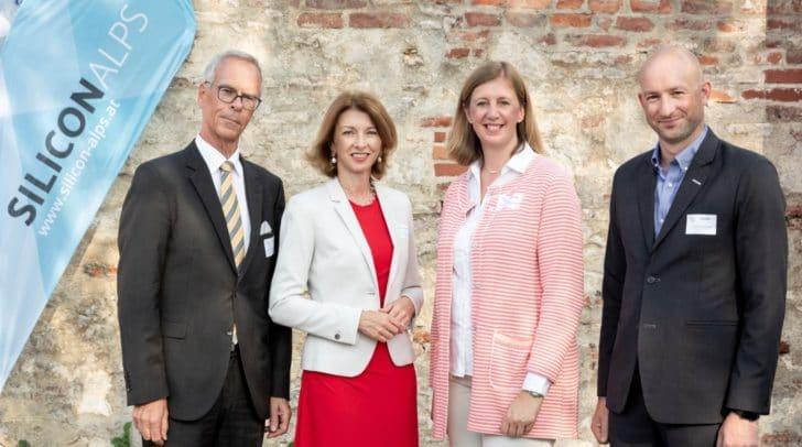 Gerhard Geisswinkler (Siemens), LHStv.in Gaby Schaunig, LR Barbara Eibinger-Miedl und Günther Lackner (Silicon Alps) am Herbst-Treffen von Silicon Alps.