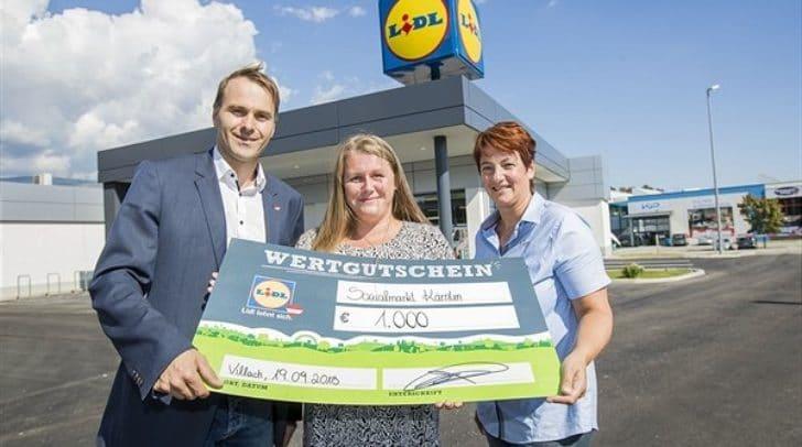 (v.l.n.r.): Ralph Auer (Verkaufsleiter Lidl Österreich), Anja Prochinig (SOMA Kärnten), Petra Tetschmann (Filialleiterin Lidl Österreich)