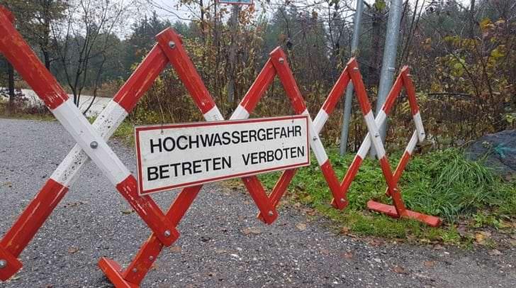 Der Glanradweg ist aktuell gesperrt, da die Glan an mehreren Stellen über die Ufer getreten ist.