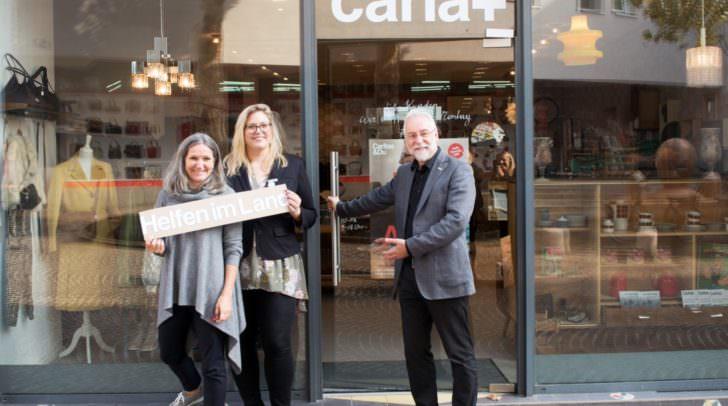 Seit 15. Oktober heißt es im neuen Caritas-Laden, dem carla+, in Villach hereinspaziert: Ursula Luschnig, Christina Staubmann, Josef Marketz