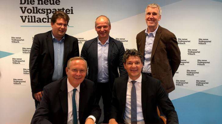 v.l.n.r. vorne: Abg.z.NR Karl Mahrer, Abg.z.NR Peter Weidinger, hinten: Christian Pober (ÖVP Villach), Robert Köfer, Johannes Widmann (beide ÖVP Velden)