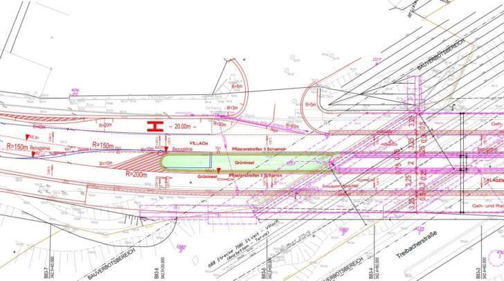 Plan der Brücke mit Grünstreifen.