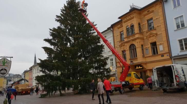 Der Weihnachtsbaum steht seit Freitag.