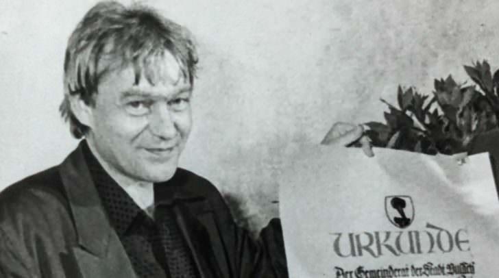 Jazzmusiker Uli Scherer bei der Verleihung des Villacher Kulturpreises 1996.