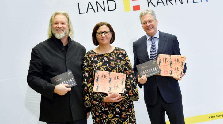 v.l.n.r.: Michael Weger, Marion Rothschopf, LH Peter Kaiser