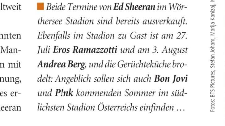 Bereits im November wurde das Konzert von Eros Ramazotti im Ö-Ticket-Magazin angekündigt.