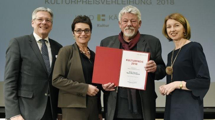 Verleihung Kulturpreise des Landes KŠrnten 2018 mit LH Dr. Peter Kaiser LH Peter Kaiser, LHStv.Beate Prettner, Klaus Ottomeyer, LHStv.Gaby Schaunig ©fritzpress