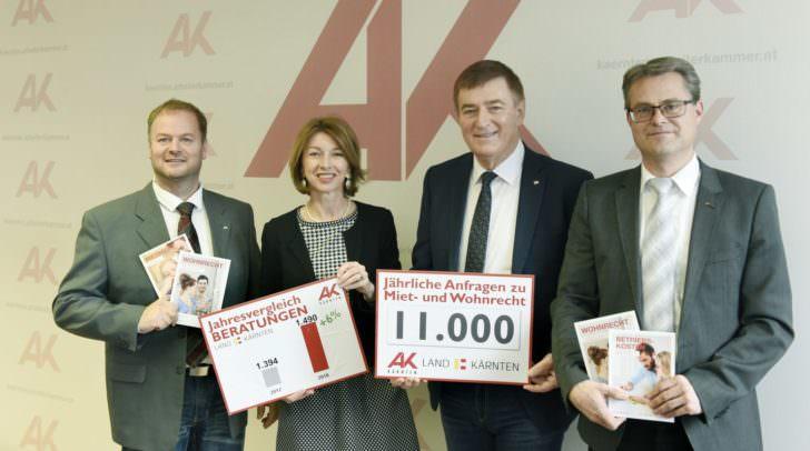 v.l. Mag. Michael Tschamer, LHStv. Dr. Gaby Schaunig, AK-Präsident Günther Goach und Stephan Achernig