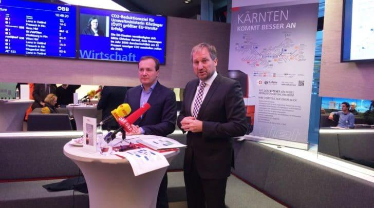 LR Ulrich Zafoschnig und Reinhard Wallner, ÖBB-Personenverkehr, stellten heute die Änderungen im ÖBB-Fahrplan vor.