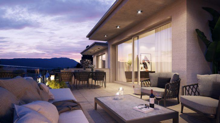 Die Penthousewohnungen beeindrucken mit großzügiger Terrasse und Weitblick über die Dächer von Villach.