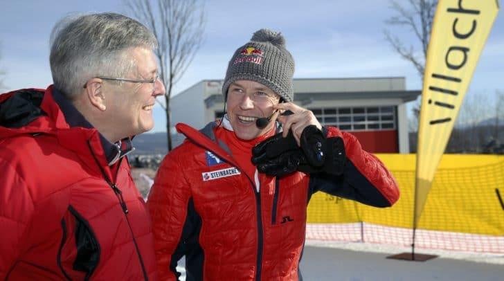 Landeshauptmann Peter Kaiser und Skisprungikone Andreas Goldberger suchten beim Goldi Talente Cup 2019 nach den Skispringern von morgen.