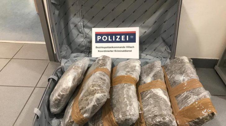 Das Cannabis war in einem Koffer versteckt.