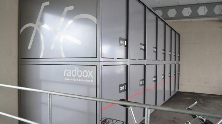 Die neuen Radboxen am Villacher Hauptbahnhof