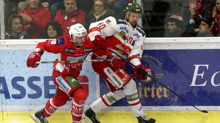 Am Bild: Stefan Geier vom EC-KAC und Markus Nordlund vom HCB Südtirol im Zweikampf.