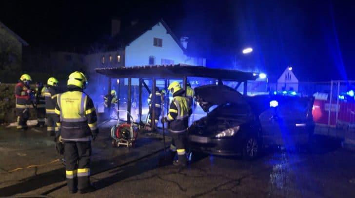 Das Fahrzeug sowie die daneben befindliche Müllinsel brannten komplett aus.