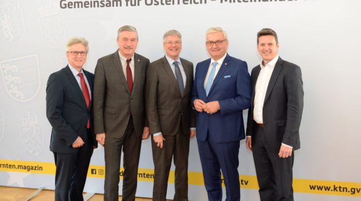 Walter Leiss, Bgm. Peter Stauber, LH Peter Kaiser, Bgm. Alfred Riedl, LR Daniel Fellner