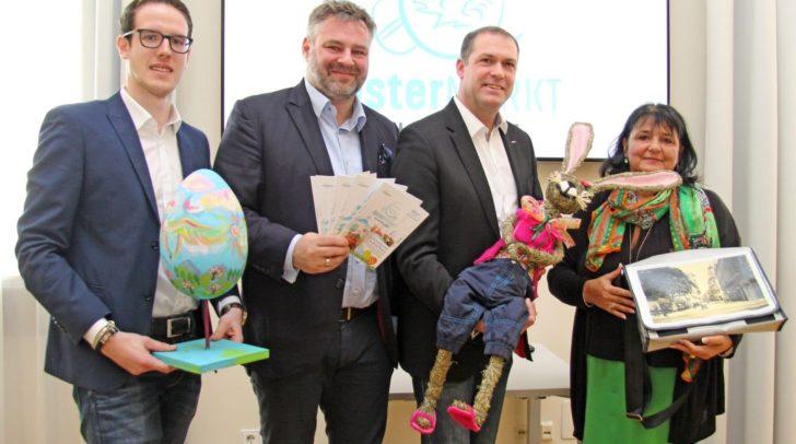 Stadtrat Markus Geiger mit Cornelia Hübner (IG Innenstadt), Adolf Kulterer (TVB) und Christoph Fleck (Wirtschaftsservice der Stadt) bei der Präsentation des heurigen Ostermarktes.