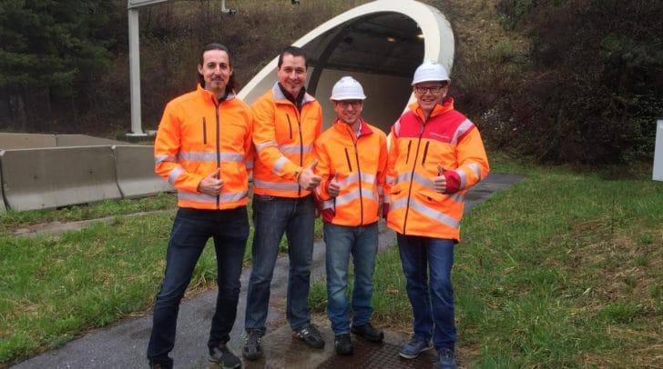 v.l.: Daumen hoch gab es vom Projektteam der ASFINAG mit Ewald Maurer, Christian Muthspiel, Markus Gröblacher und Markus Keller.