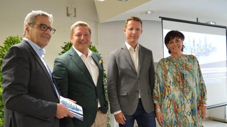 Stadtmarketing-Chef Gerhard Angerer, Bgm. Günther Albel, Hannes Lindner von Standort+Markt und Vizebgm. Petra Oberrauner
