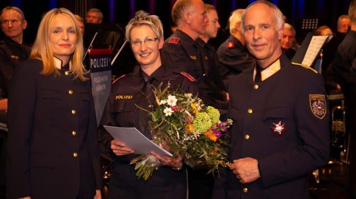 Landespolizeidirektorin Mag. Dr. Michaela Kohlweiß und Generalsekretär Mag. Peter Goldgruber und mit der Polizistin des Jahres 2018 Gruppeninspektorin Karin Jenic