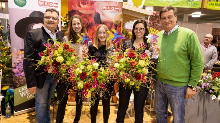 WK-Innungsmeister Kurt Glantschnig und WK-Präsident Jürgen Mandl freuten sich mit den Franziska Mayer, Nina Elisabeth Kohlmeier und Anna Pacher