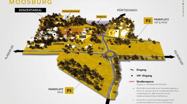 Die Schlosswiese in Moosburg liegt unter dem Schloss Moosburg und bietet durch die umliegenden Parkplätze und die anfahrenden Busse ideale Anreiseverhältnisse.