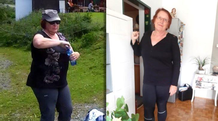 Jutta vor dem Gewichtsverlust (links) und danach (rechts). Dank Shape-Line hat sie 15 Kilo angenommen!