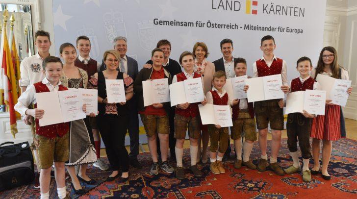 Empfang anlässlich der erfolgreichen Teilnahme von Schülerinnen und Schüler der Musikschule Katolnig an den Harmonika Staatsmeisterschaften 2018.