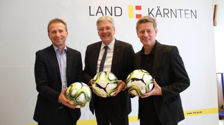 ÖFB-Cupfinale in Klagenfurt: Klaus Mitterdorfer (Präsident des Kärntner Fußball Verbandes), LH Peter Kaiser und Landessportdirektor Arno Arthofer