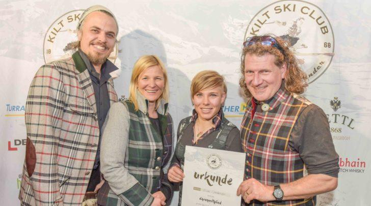 Der Kilt Ski Club Vorstand mit Nikolaus Gierok, Elke Basler und Thomas Rettl konnte ÖSV-Ass Nicole Schmidhofer als Ehrenmitglied im Kilt Ski Club begrüßen.