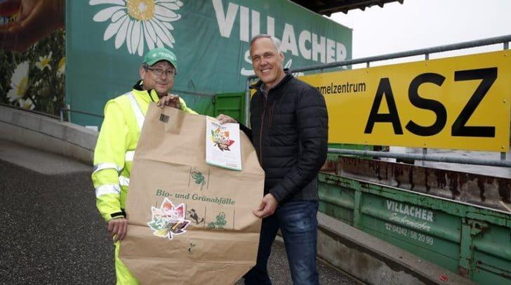 v.l.n.r.: ASZ-Mitarbeiter Peter Pressinger und Leiter der Abfallwirtschaft Oswald Guggenberger.