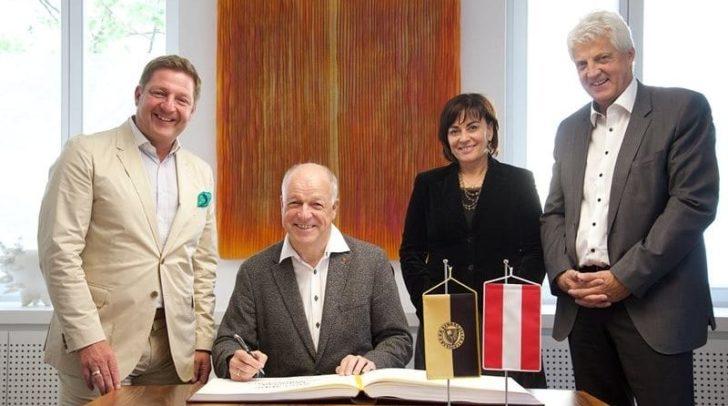 Bundesrats-Präsident Ingo Appé, Vizebgm. Petra Oberrauner, Bgm. Günther Albel und Magistratsdirektor Hans Mainhart