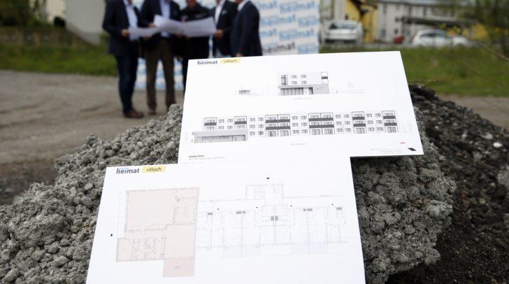 Die Baupläne für das neue Feuerwehrhaus, in dem auch mehrere Wohnanlagen integriert sein werden.