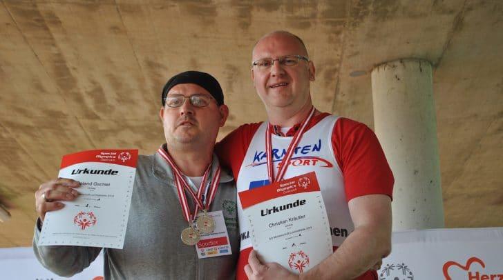 Roland Gschiel (links) und Christian Kräutler waren die Besten in der Disziplin Schlagball.