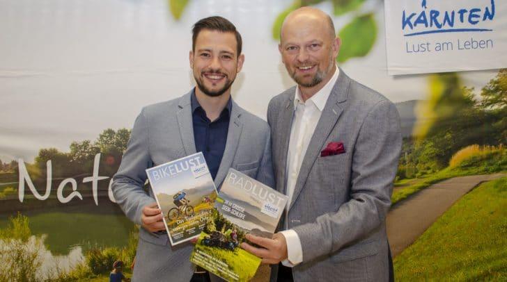 Der neue Tourismuslandesrat Sebastian Schuschnig und Kärnten Werbung Chef Christian Kresse präsentieren die Schwerpunkte für die Bewerbung des Sommers 2019.
