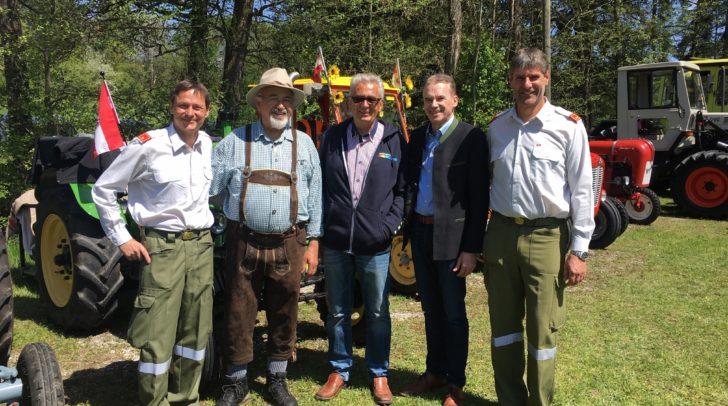 FF-Kommandant Leo Tratnik, Stellvertreter Reinhold Ogris, Josef Bürbaumer, Gemeinderat Walter Kupper und Bürgermeister Ferdinand Vouk.