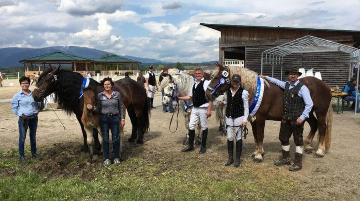 Obmann K14 Michi Körbler mit den Gruppensiegern in ihren Klassen Beate Wolf, Johann Wiedauf, Hilde Gräfling und Bettina Mayer (v.r.n.l.)