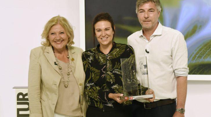 Birgit Birnbacher mit Bürgermeisterin Maria Luise Mathiaschitz und Stefan Gmünder